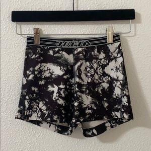 Black and white Jolyn spandex shorts